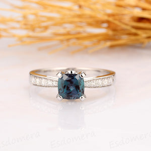 Alexandrite Engagement Ring, Cushion Cut 1.1CT Alexandrite Ring, 14k White Gold Promise Ring