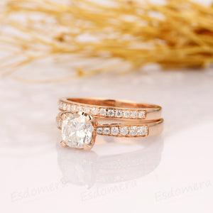 1.1CT Cushion Cut Moissanite Engagement Ring, 14K Rose Gold Bridal Ring Set, Promise Ring Set