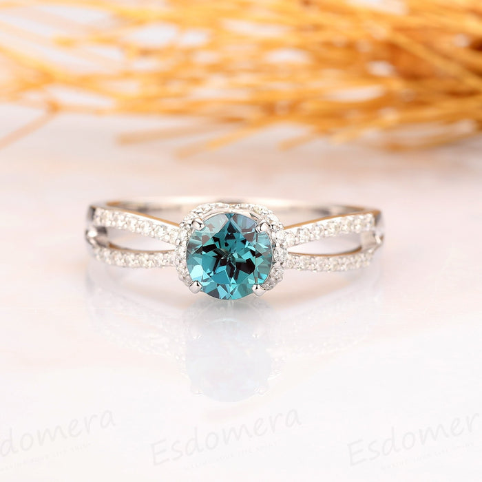 1.00CT Round Cut Alexandrite Ring, Split Band Accents 14k Solid White Gold Ring