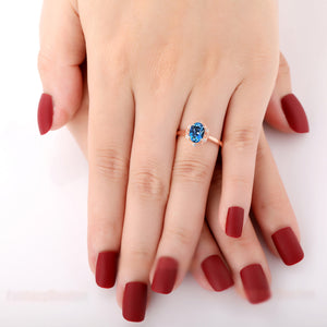 925 Sterling Silver - Simple 6x8mm Oval Cut Natural London Blue Topaz Ring