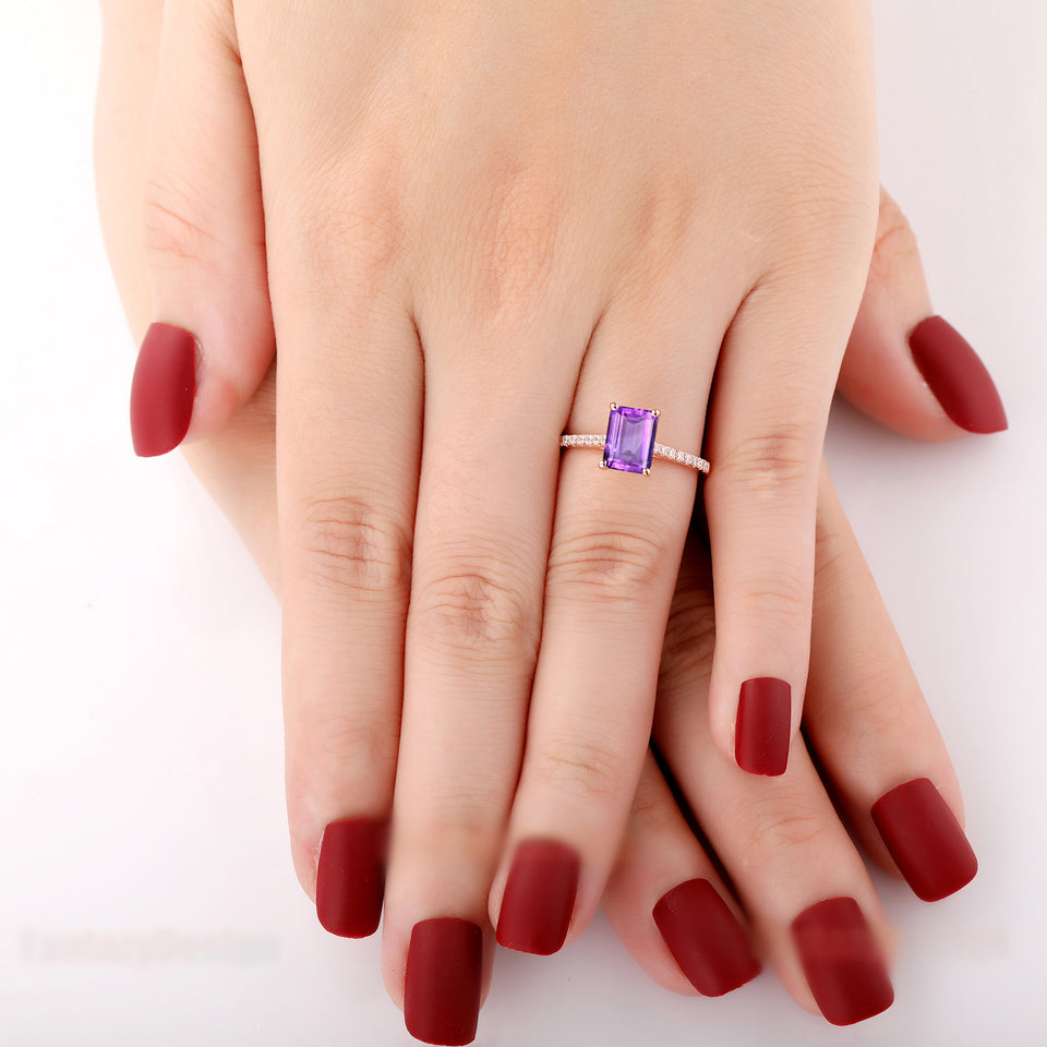 925 Sterling Silver - Half Eternity 2.0CT Emerald Cut Natural Amethyst Ring