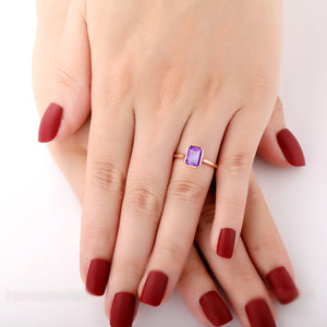 925 Sterling Silver - Bezel Set 2.0CT Emerald Cut Natural Amethyst Solitaire Ring