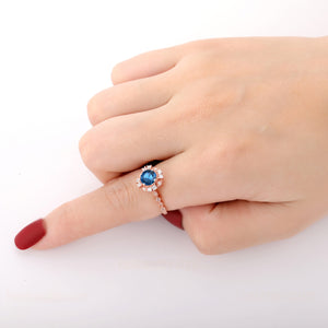 925 Sterling Silver - Women 1.0CT Round Cut Natural London Blue Topaz Ring
