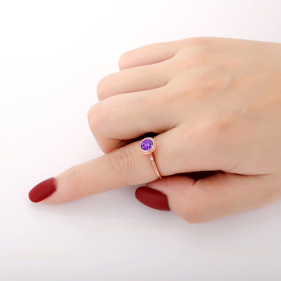 925 Sterling Silver - 1.0CT Round Cut 6.5mm Natural Amethyst Ring