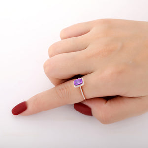 925 Sterling Silver - Prong Set 1.0CT Emerald Cut Natural Amethyst Ring