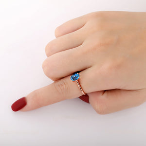 925 Sterling Silver - Excellent 6x8mm Oval Cut Natural London Blue Topaz Ring, Solitaire Ring