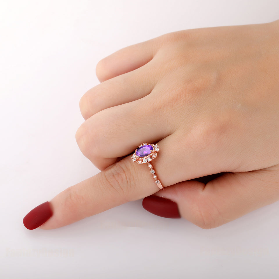925 Sterling Silver - Vintage Style 1.5CT Oval Cut Natural Amethyst Ring