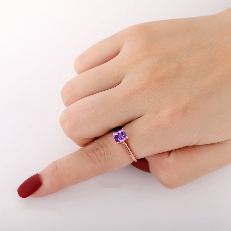 925 Sterling Silver - Prong Set Cushion Cut 6.5mm Natural Amethyst Engagement Ring