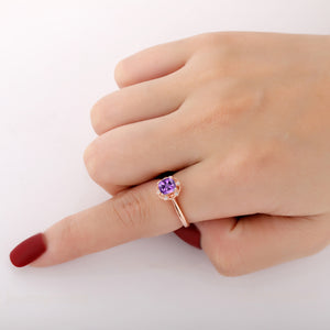 925 Sterling Silver - High Quality Cushion Cut 6x6mm Natural Amethyst Wedding Ring