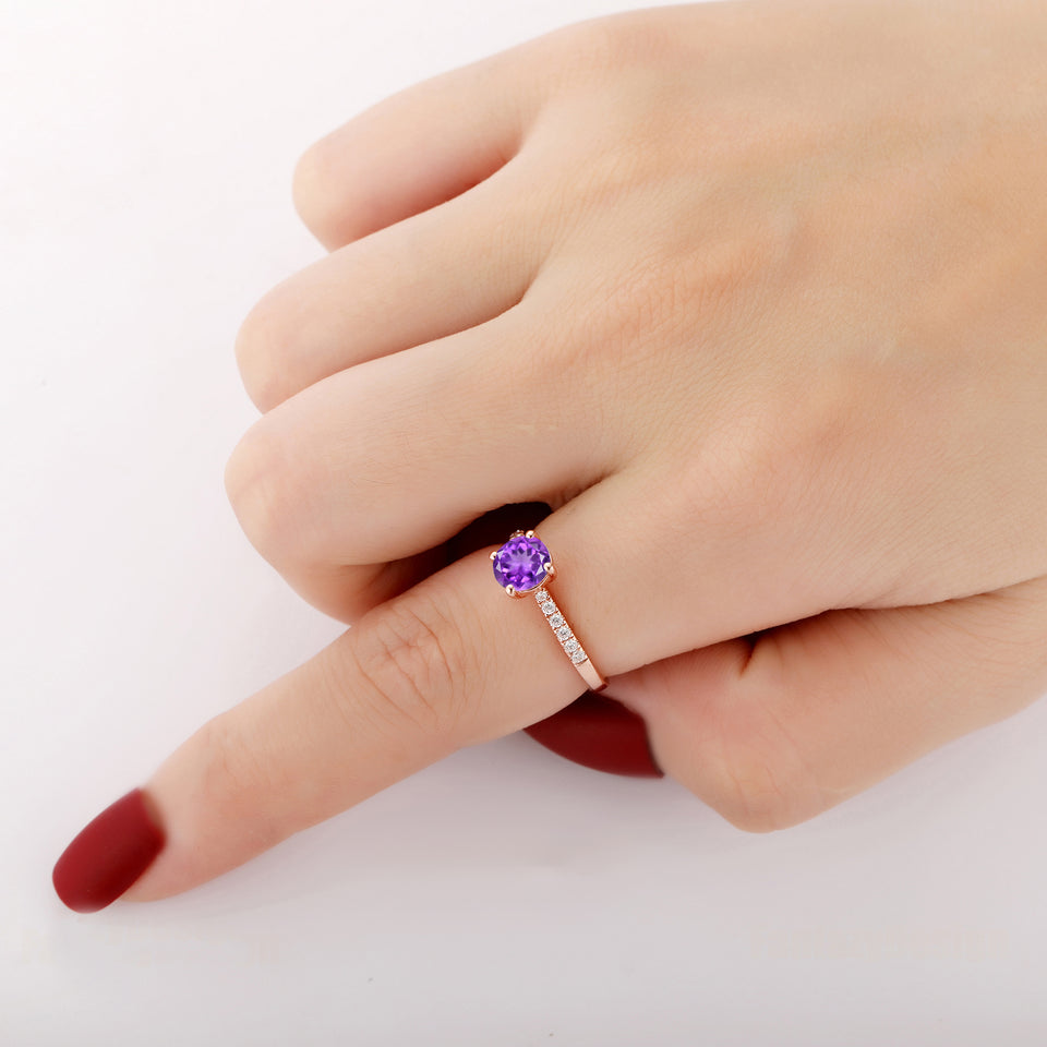 925 Sterling Silver - Handmade Round Cut 6.5mm Natural Amethyst Birthstone Ring