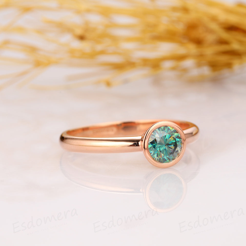Bezel Set Round Cut 0.8CT Blue Moissanaite, 14K Solid Yellow Gold Engagement Ring