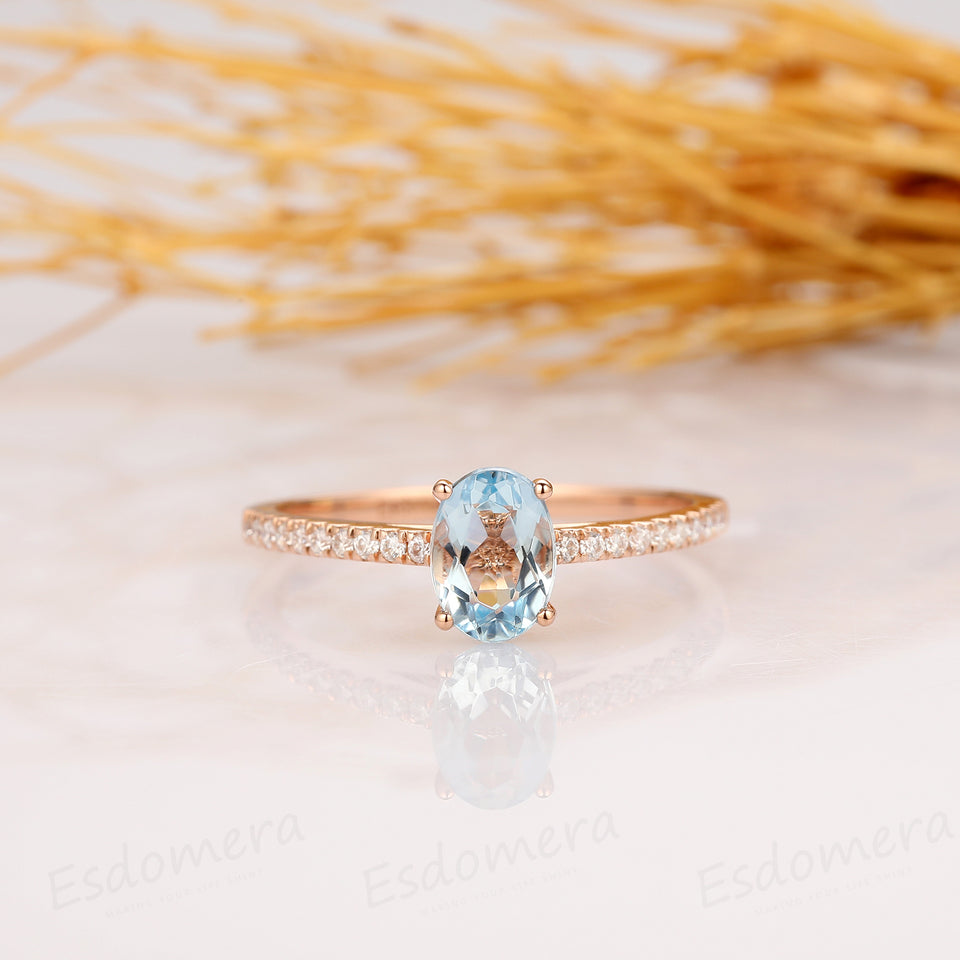 Oval Cut 1CT Natural Aquamarine Engagement Ring, 14K Rose Gold Wedding Ring