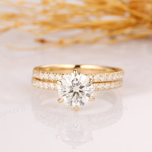 1.5CT Round Cut Moissanite Ring, 3/4 Pave Set Band, 14K Solid Yellow Gold Ring