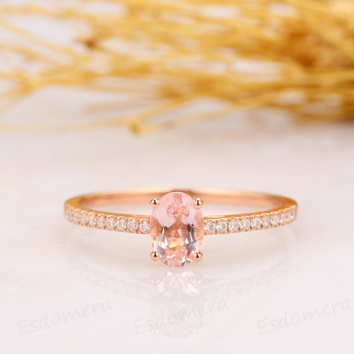 1.00CT Oval Cut Morganite Engagement Ring, Half Eternity Ring, 14k Rose Gold Ring