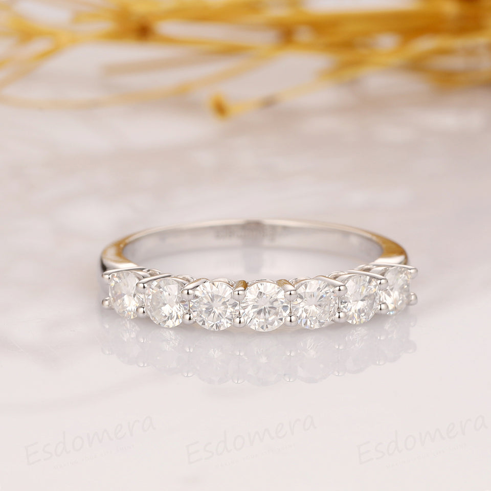7 Stone Moissanite Wedding Band, 0.7ctw Moissanite Band, 14k Solid Gold Ring