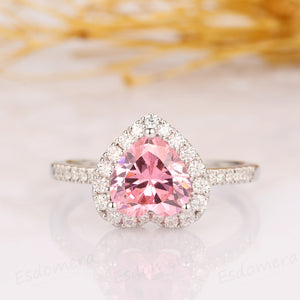 2.00CT Heart Shape Pink Simulated Diamond Ring, Half Eternity Moissanite Engagement Ring