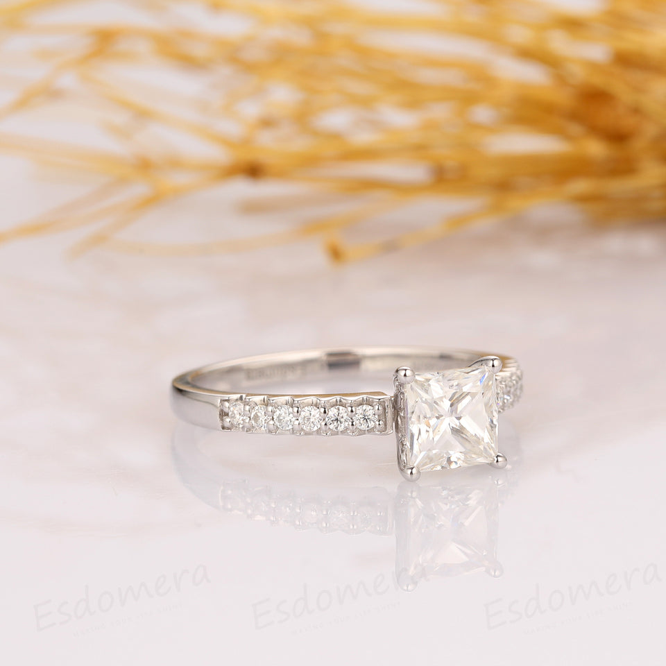 1.00CT Princess Cut Moissanite Engagement Ring, Half Eternity Ring, 14k White Gold Ring