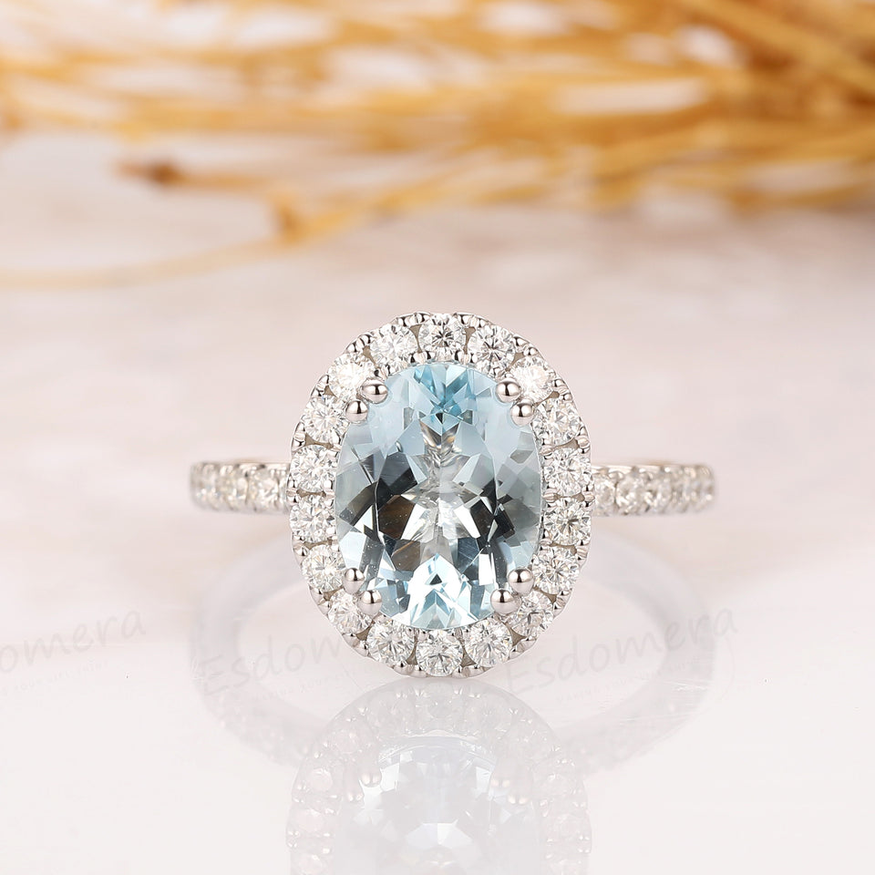 2.1CT Oval Cut Natural Aquamarine Ring, 14k White Gold Engagement Ring