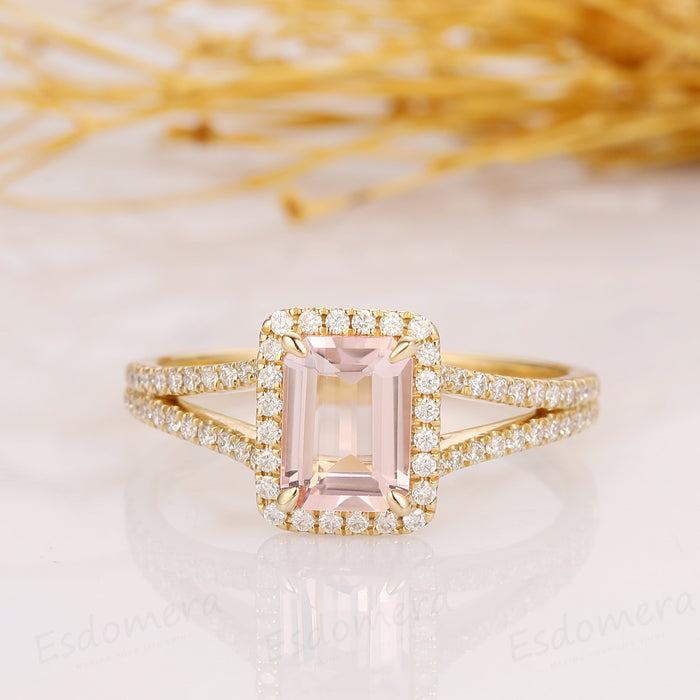 2.00CT Emerald Cut Morganite Engagement Ring, Halo Split Shanks Accents Ring, 14k Solid Yellow Gold Ring