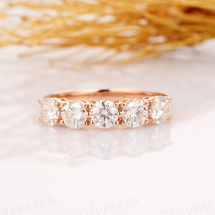 2.0ctw Round Cut Moissanite Wedding Ring, 14k Solid Gold 5 Stone Ring