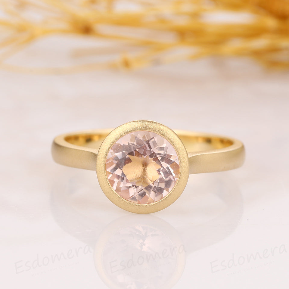 Round Cut 1.5CT Morganite Solitaire Bezel Style Ring, Matte Wedding Band Ring
