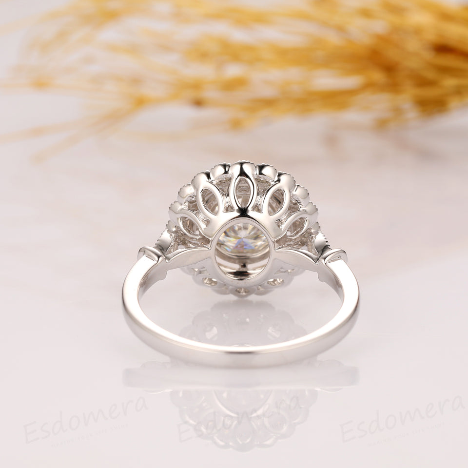 1.5CT Round Cut Esdomera Moissanite Engagement Ring, Vintage Rainbow Halo Style Ring, 14k White Gold Engagement Ring