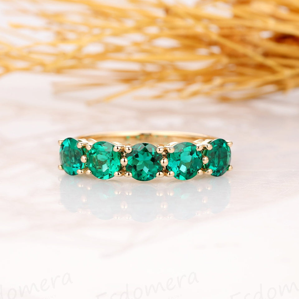 5 Emerald Stones, Round Cut Engagement Ring, 14k Yellow Gold Wedding Ring