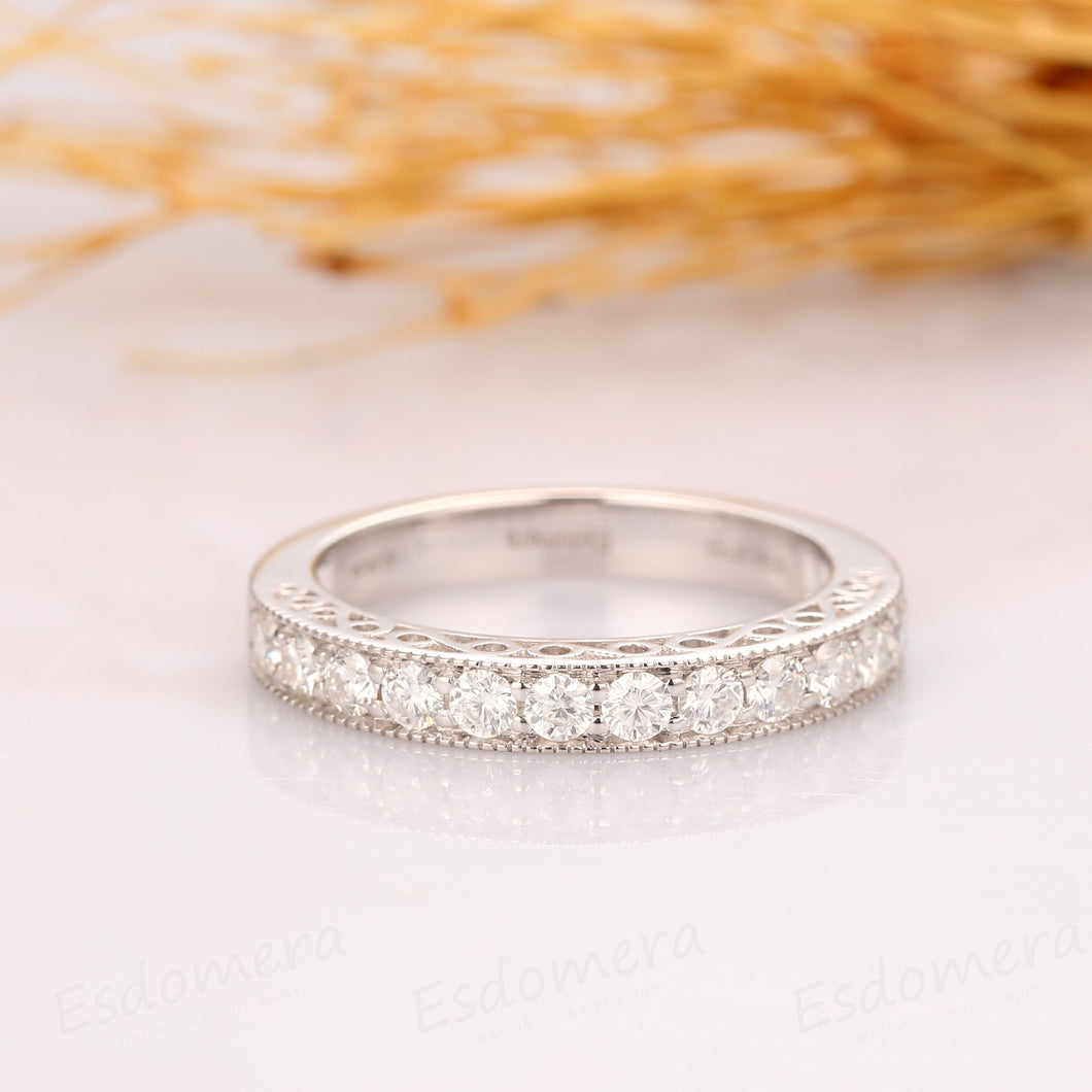 Antique Moissanite Band, Half Eternity Wedding Band, Channel Set Ring