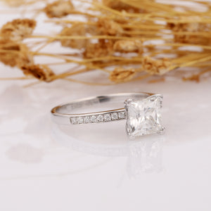 Silver Plated Gold Princess 1.5ct Moissanite Center Stone with Moissanite Side Stones in 14k Gold