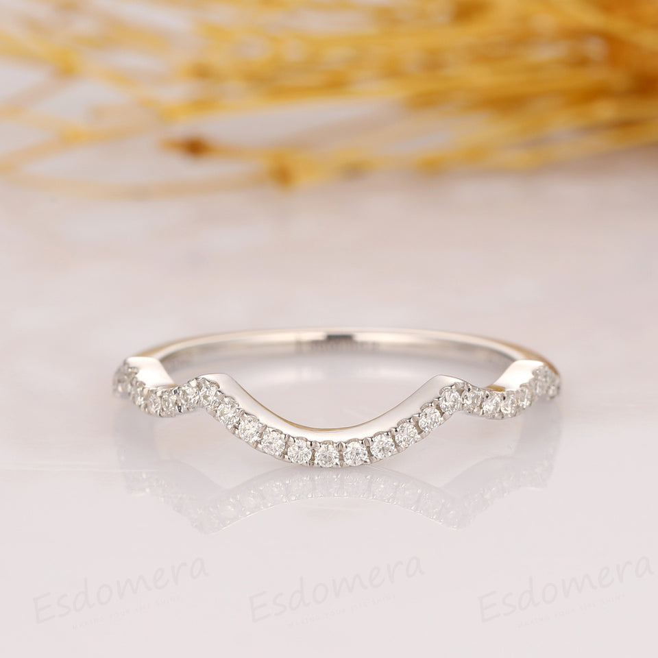 Curved Wedding Band, 14k White Gold Moissanite Wedding Ring
