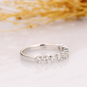 Bubble Style Moissanite Band, Half Eternity Wedding Band, 14k Yellow Gold Ring