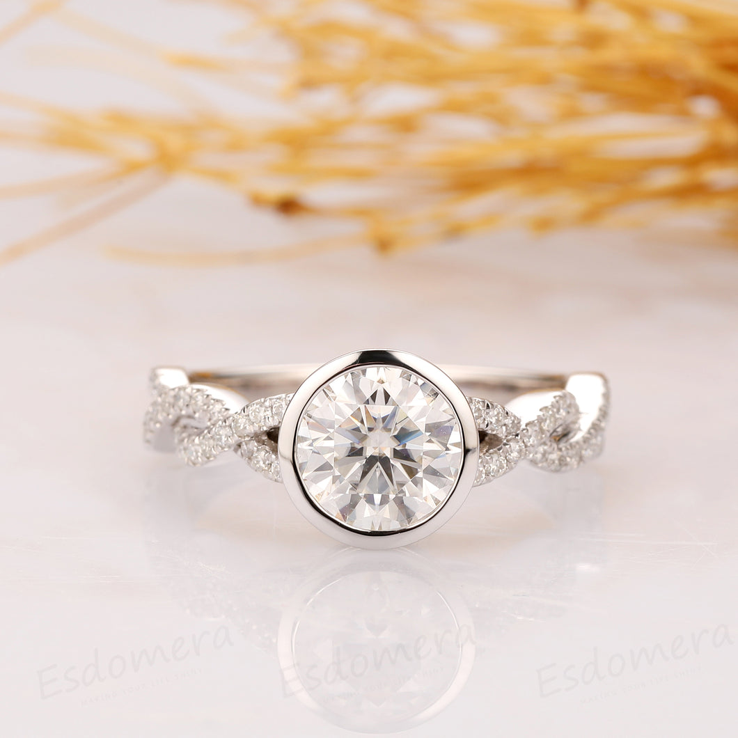 1.5CT Round Cut Ring, Bezel Setting, Half Twist Moissanite Band, 14K White Gold