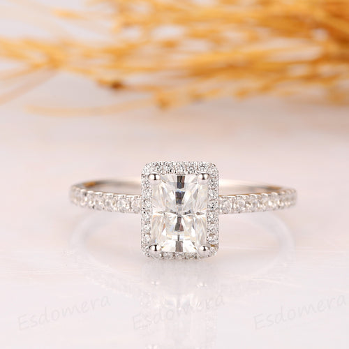 925 Sterling Silver - Radiant Cut 5x7mm Halo Pave Moissanite Ring