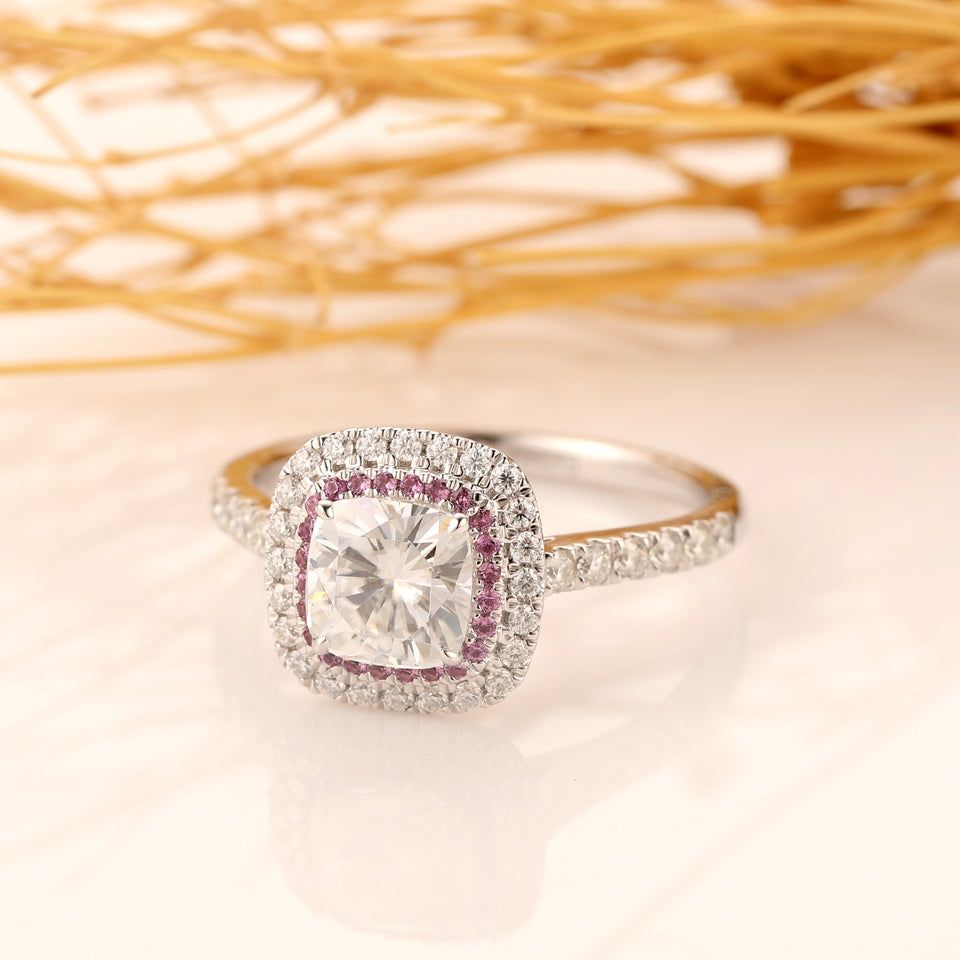 Cushion Cut 1.5ct Esdomera Moissanites Double Halo Pink Pave Set Accents Ring, 14K Solid Gold Engagement Ring, Wedding Ring