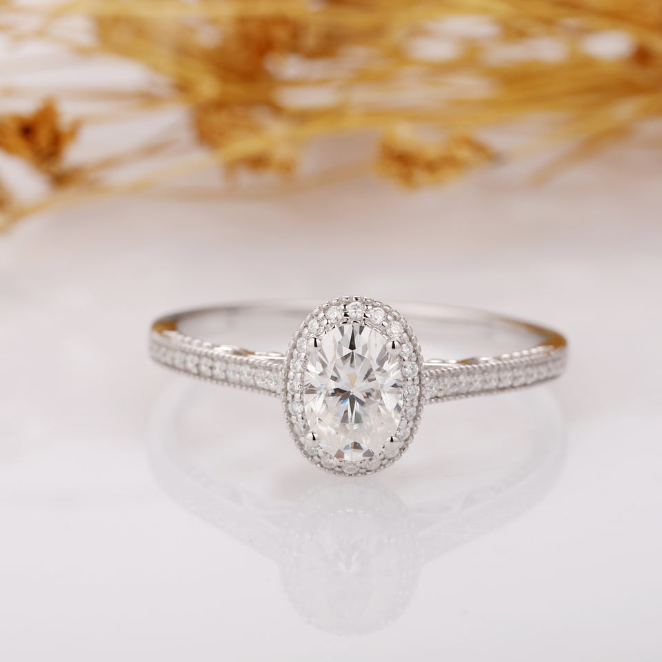 Oval Cut 5x7mm Esdomera Moissanites Ring, Halo Pave Accents Engagement Ring