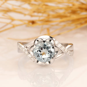 Natural Aquamarine Ring, Floral Round Cut 1CT Aquamarine Ring, Split Shanks Accents 14k White Gold Engagement Ring