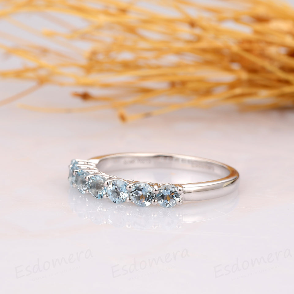 Aquamarine Band, Classic 0.7ctw Round Aquamarine 7 Stones Wedding Band