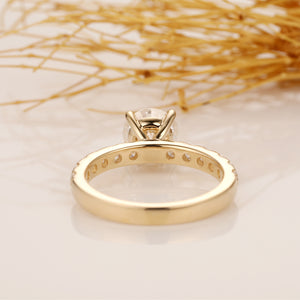 Moissanite Wedding Ring, Round Cut 2CT Moissanite Engagement Ring, Half Eternity Ring, 14k Solid Gold Ring, Pave Set Moissanite Ring