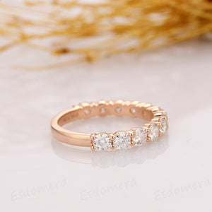 Moissanite Band, Classic 1.44ctw Round Moissanite, 12 Stone Wedding Band, Accents 14k Solid Gold Moissanite Wedding Ring