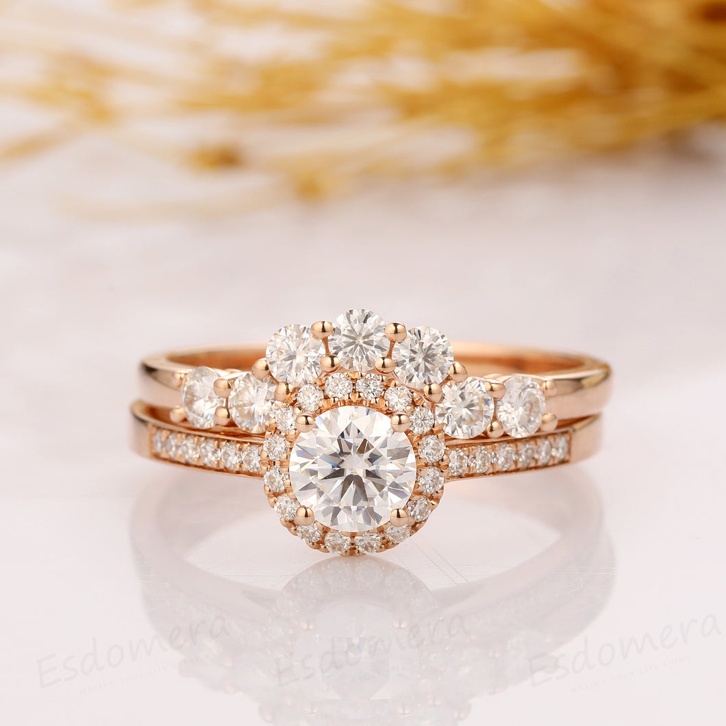 Bridal Set, Round Cut 0.8ct Moissanite Ring, Halo Vintage Engagement Ring
