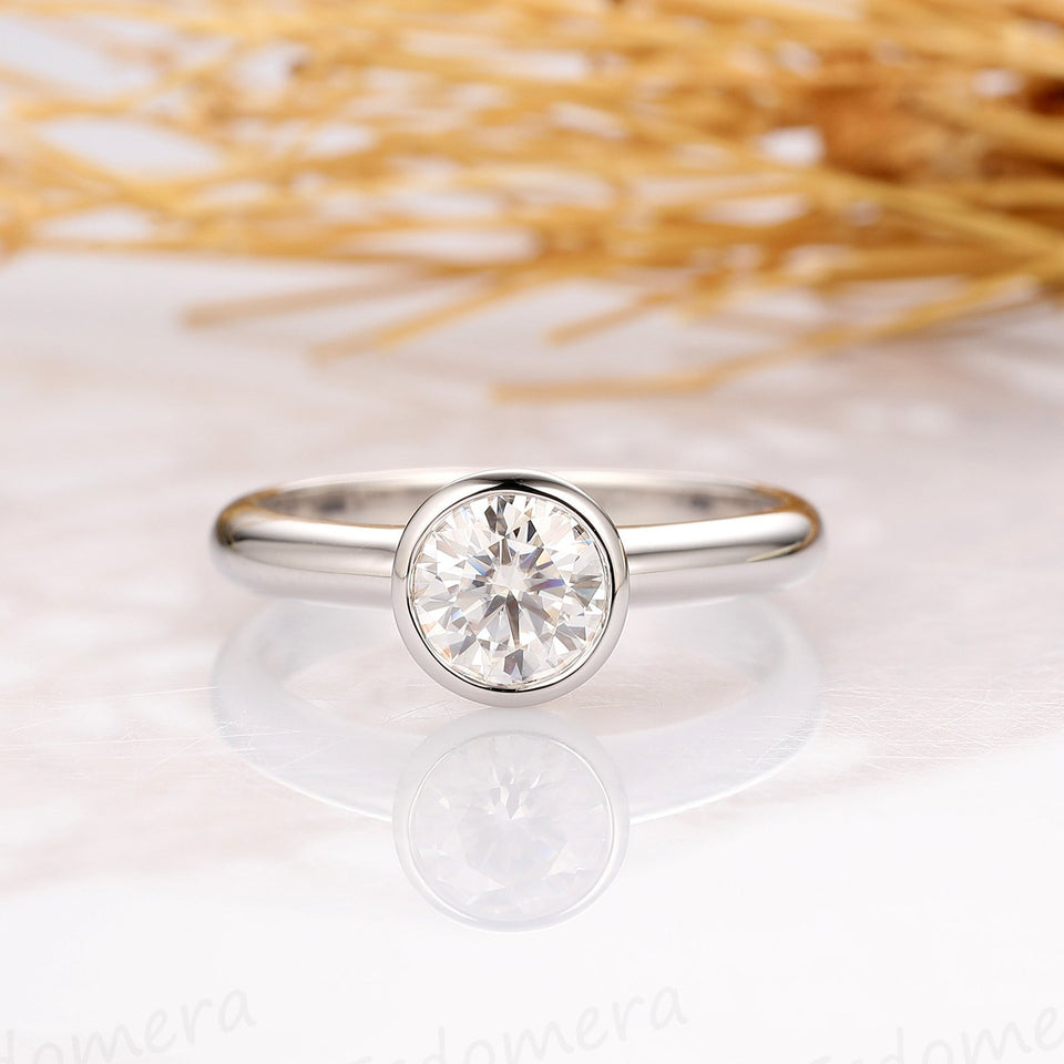 Bezel Set 0.8CT Round Esdomera Moissanite Ring, Solitaire 14k Gold Ring