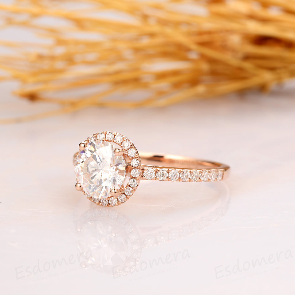 Halo Round Cut 6.5mm Moissanite Ring, Accent 14k Rose Gold Engagament Ring