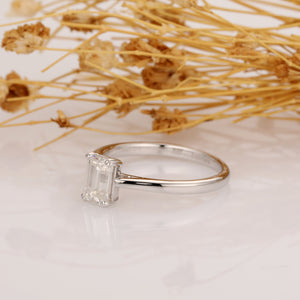925 Sterling Silver - Emerald Cut 5x7mm Solitaire Moissanite Engagement Ring