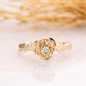 Floral Moissanite Ring, Rose Flower Design Ring, 0.04ctw Moissanite Engagement Ring