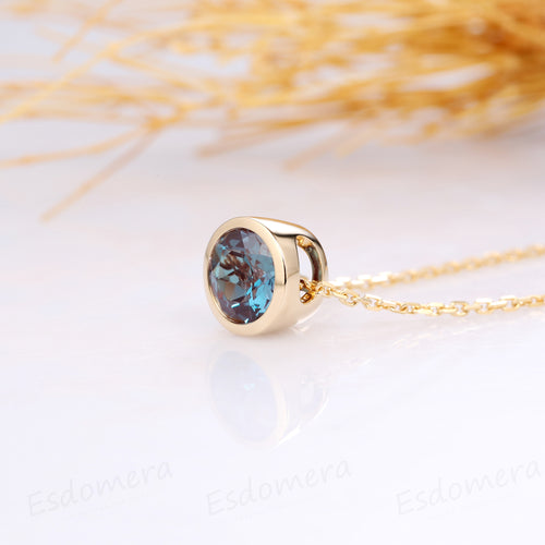 Round Cut 1CT Center Alexandrite Bezel Solitaire 14k Yellow Gold Pendants Necklace Chain