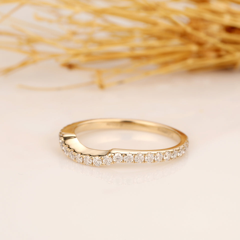 3/4 Eternity Wedding Ring, Curved Ring, 14K Solid Yellow Gold Matching Ring