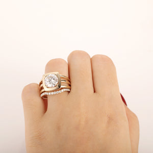 3CT Round Cut Moissanite Engagement Ring, 14k Solid Yellow Gold Bridal Set