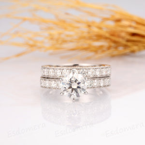Round 2ct Moissanite Bridal Set, Antique Filigree Ring, 14k White Gold Ring