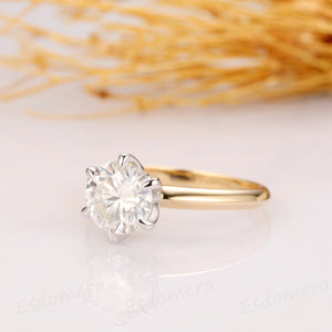 2CT Round Cut Moissanite Engagement Ring, Solitaire Ring Design, 14k Two Tone Gold Ring