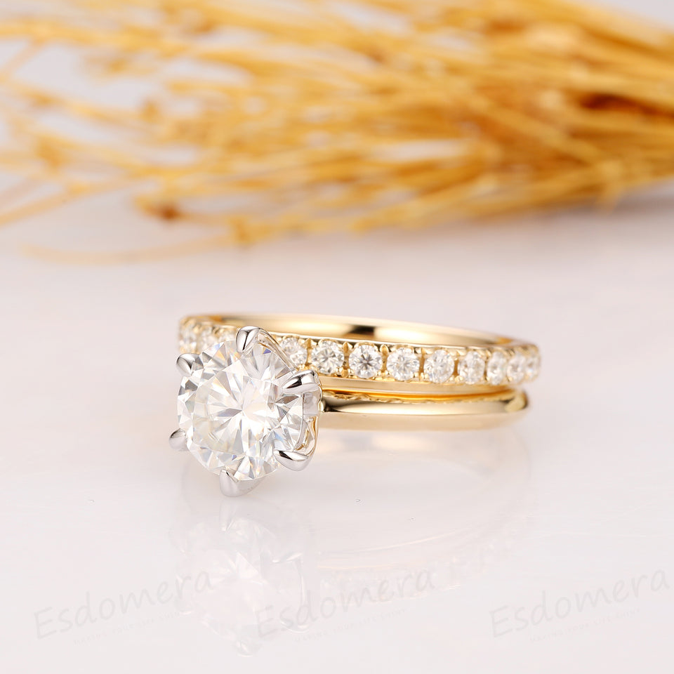 2CT Round Cut Moissanite Ring, Solitaire Engagement Ring, 14k Two Tone Gold Moissanite Ring